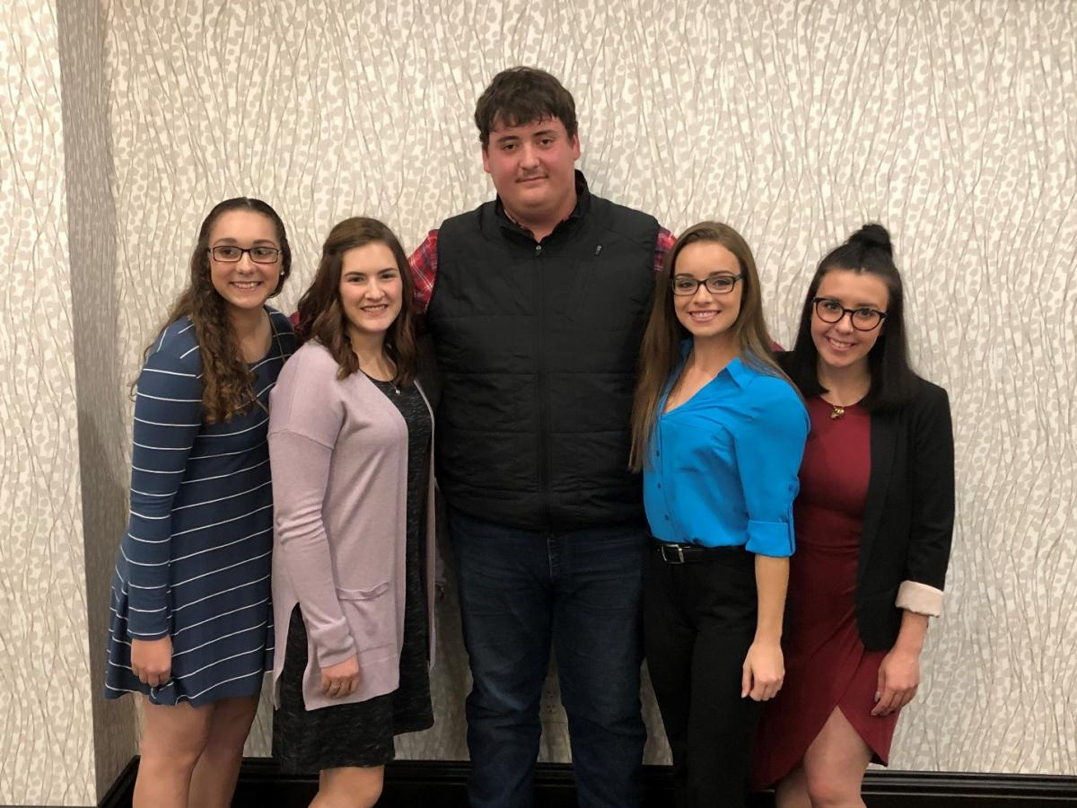 Left to right: Emily Benton, Williamsburg; Mackenzie Tucker, Cambridge; Zak Jones, Canton; Shelby Thompson, Batavia; and Taylor Blythe, Lima.  Not pictured: Paige Doklovic (undergraduate assistant coach), Mansfield; Jonathan Suwarna (undergraduate assistant coach), Lorain; and Michael Cressman, coach.