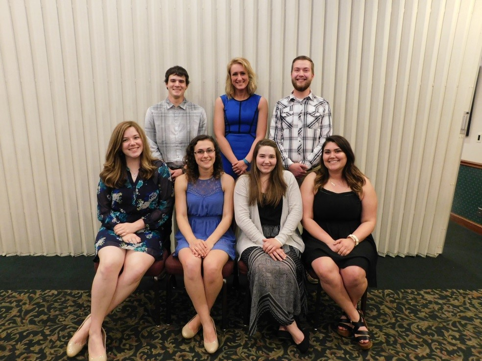 The 2017-2018 Officer Team: Front Row – Katherine Wolfe, Marina Sweet, Hannah Meller, and Lexie Nunes; Back Row – Chase Thut, Hannah Jarvis, and Joel Sonnenberg.