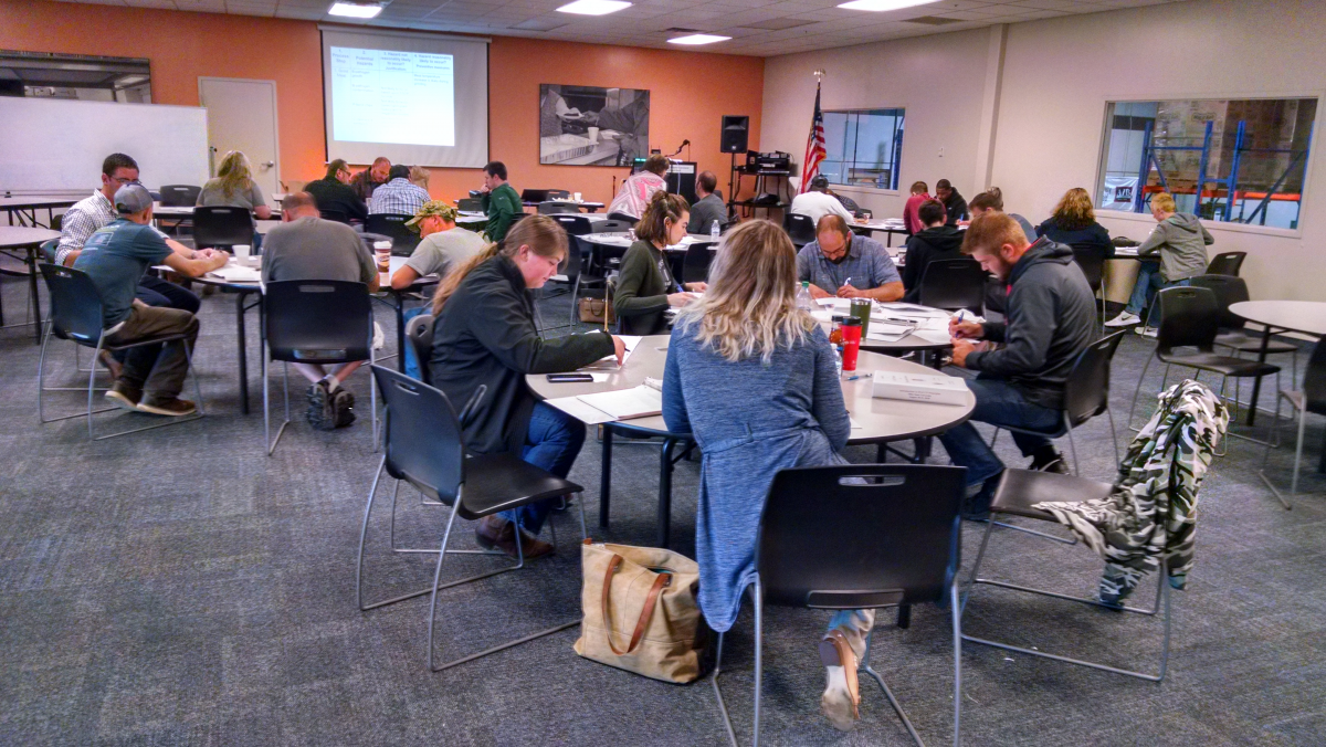 Attendees working at the most recent HACCP training in the Greater Cleveland Food Bank