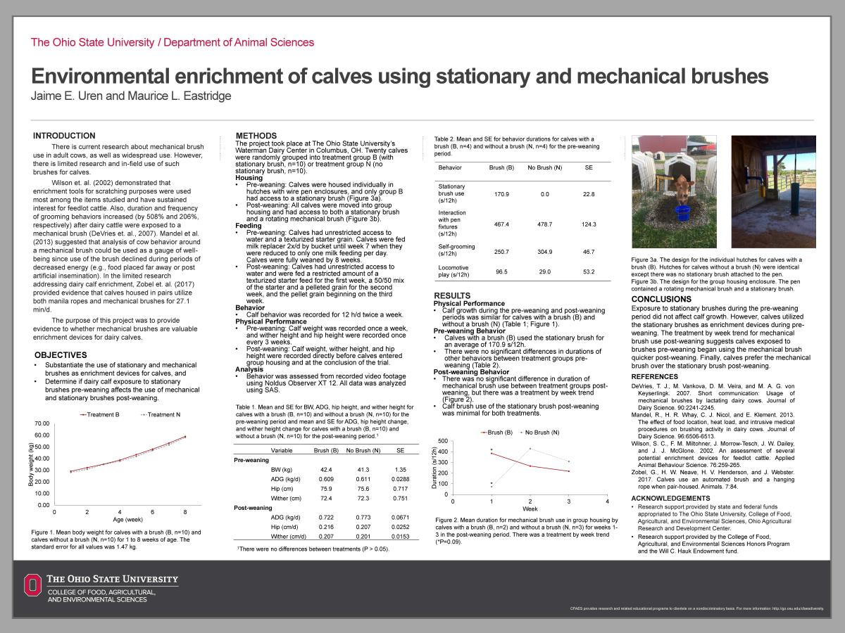 Environmental enrichment of calves using stationary and mechanical brushes