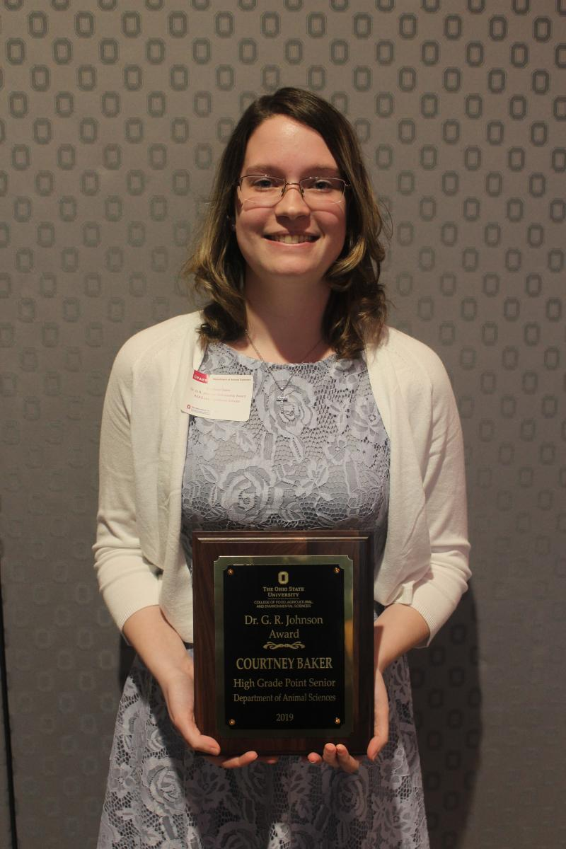 Dr. George R. Johnson Award winner Courtney Baker