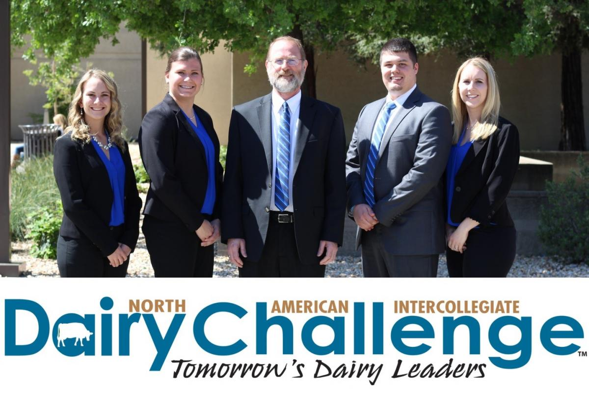 2017 Ohio State Dairy Challenge Team: Brittany Webb, Angie Evers, Dr. Maurice Eastridge (coach), Jacob Triplett, and Greta Stridsberg.