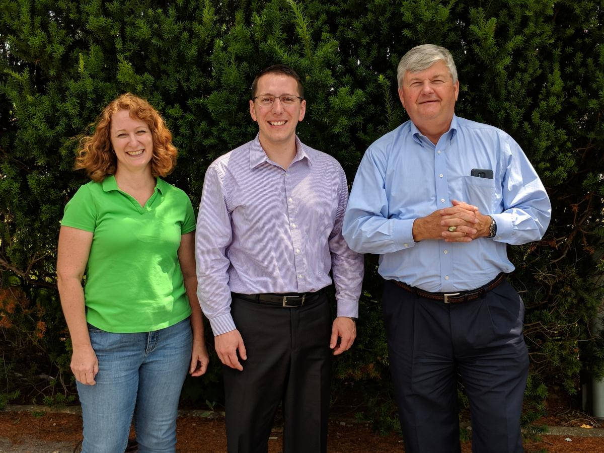 Lab technician Cathy Parsons, Dr. Benjamin Enger, and Dr. Mike Akers (Dr. Enger's PhD advisor) at Virginia Tech