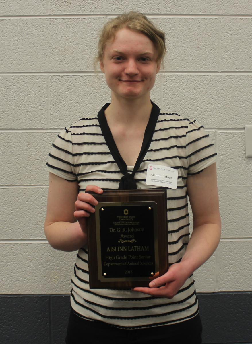 Dr. George R. Johnson Award winner Aislinn Latham