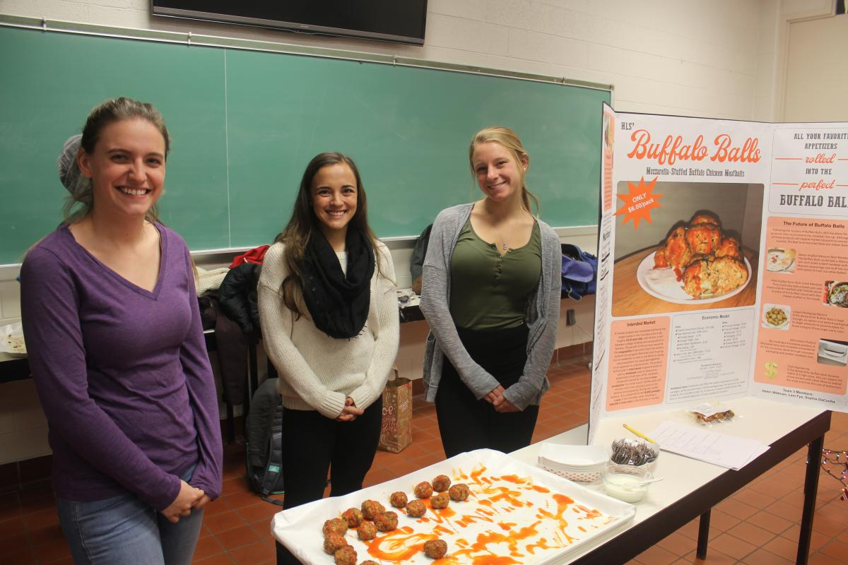 """HLS' Buffalo Balls"" team members (l. to r.) Sophie DaCunha, Lexi Fye, and Helen Wittman"