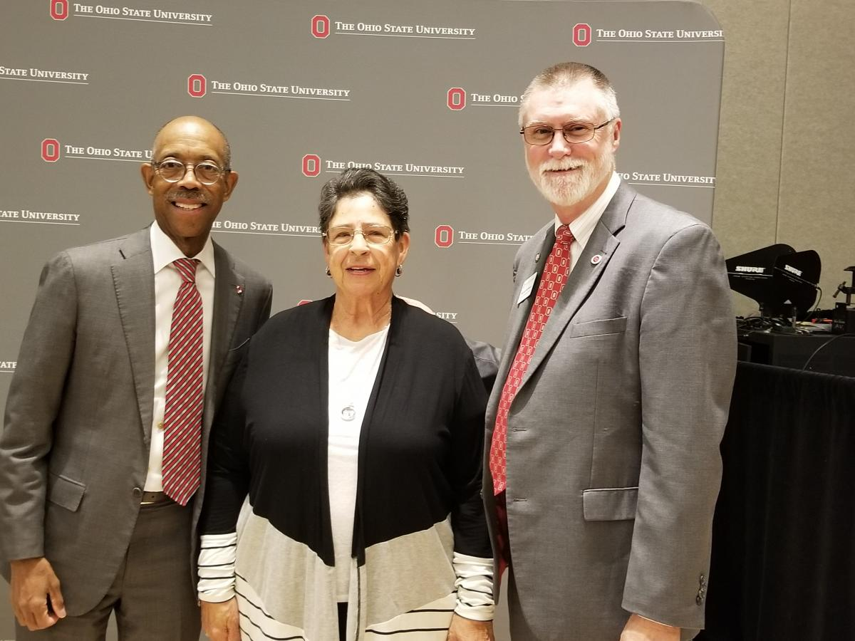 Ohio State President Michael Drake, Office Associate Sandy Bentley and Executive Vice President and Provost Bruce McPheron