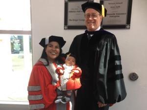 Dr. Yairanex Roman-Garcia, son Elijah, and advisor Dr. Jeffrey Firkins